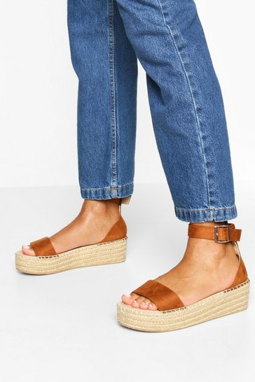 Tan 2 Part Espadrille Flatforms