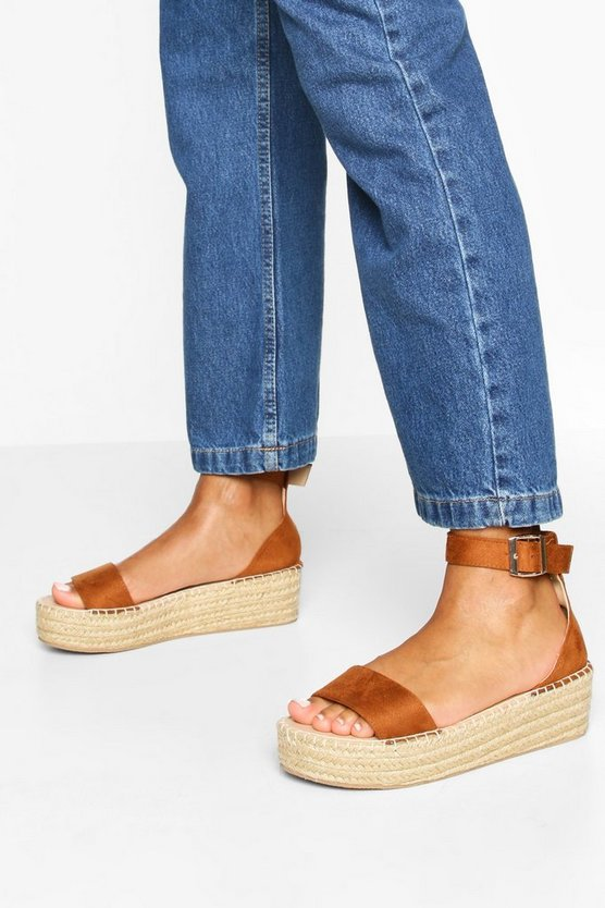 Womens Tan 2 Part Espadrille Flatforms