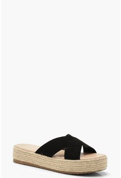 Cross Strap Espadrille Flatforms, Black, DAMEN