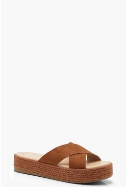 Womens Tan Cross Strap Espadrille Flatforms