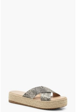 Womens Natural Snake Cross Strap Espadrille Flatforms
