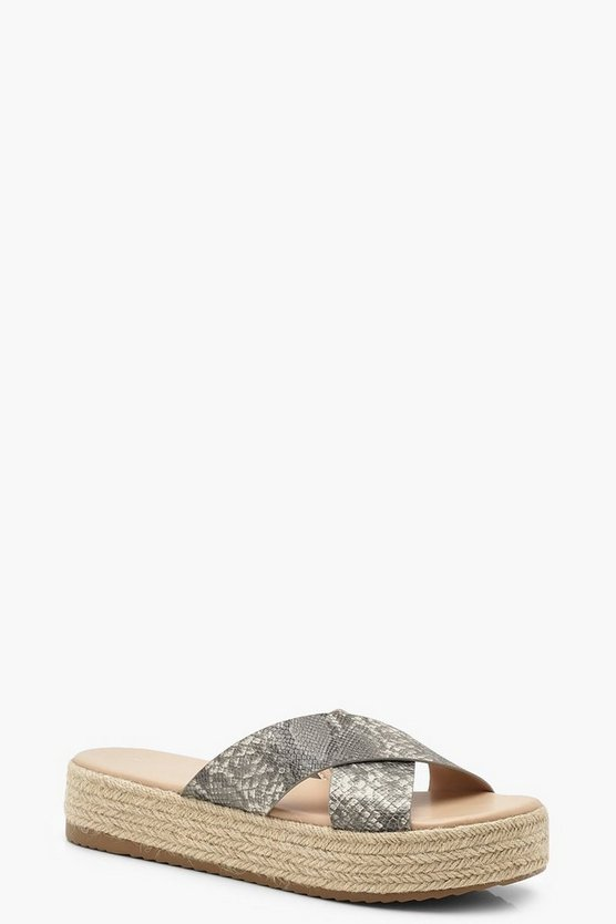 Snake Cross Strap Espadrille Flatforms, Natural, FEMMES