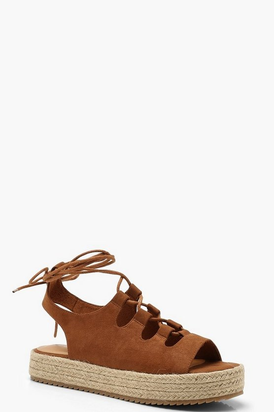 Lace Up Espadrille Flatforms, Tan, FEMMES