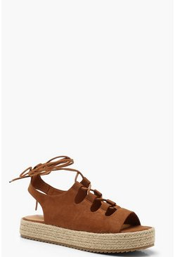 Womens Tan Lace Up Espadrille Flatforms