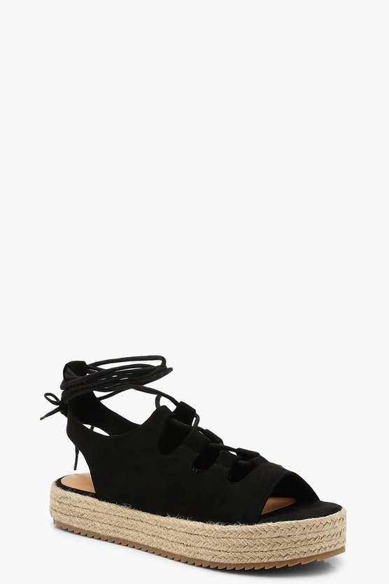 Womens Black Lace Up Espadrille Flatforms