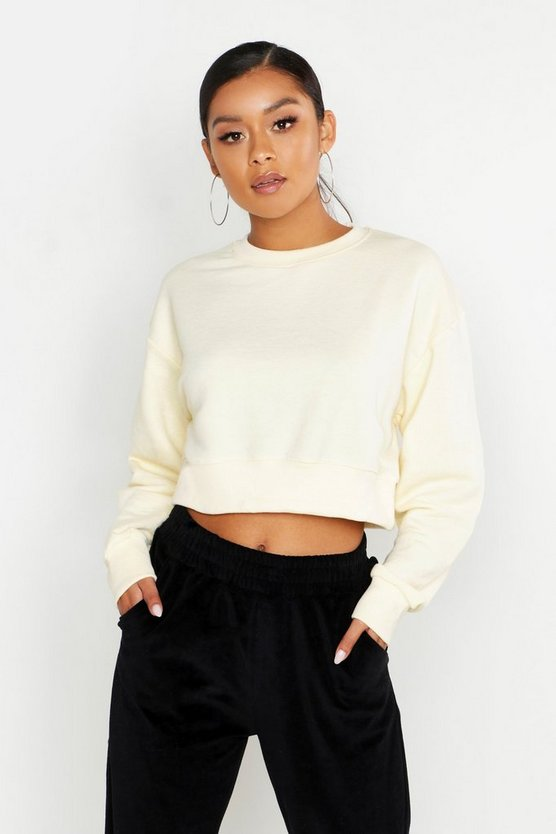 Womens Cropped Drop Shoulder Oversized Sweat