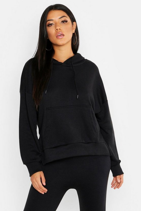 Womens Black Side Slit Hoody