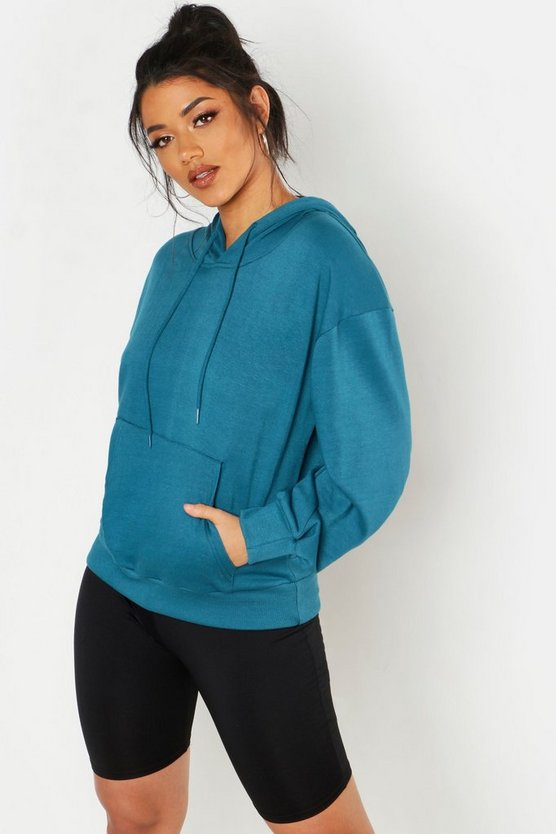 Womens Teal Front Pocket Detail Hoody