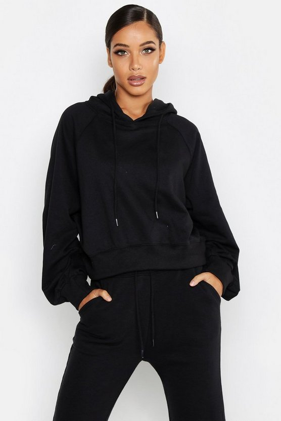 Womens Black Cropped Oversized Batwing Hoody