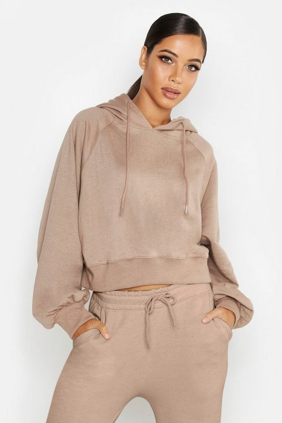 Cropped Oversized Batwing Hoody