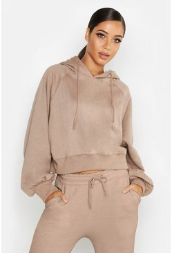 Womens Stone Cropped Oversized Batwing Hoody