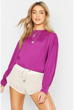 Volume Sleeve Long Sleeve T Shirt, Purple, Femme