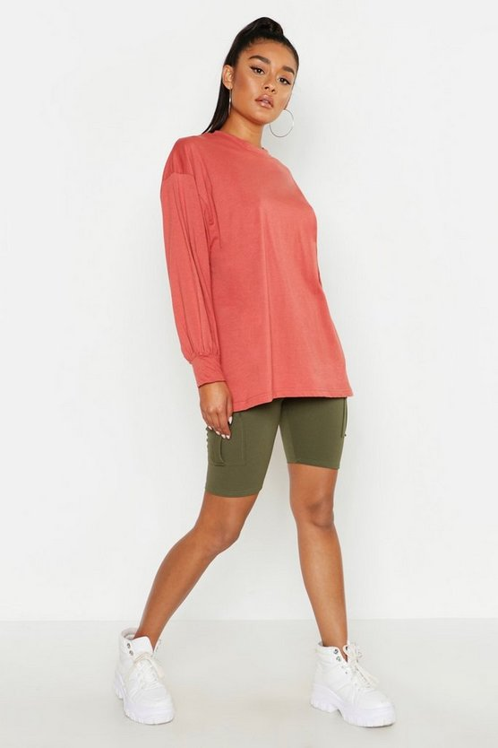 Womens Terracotta Volume Sleeve Long Sleeve T Shirt