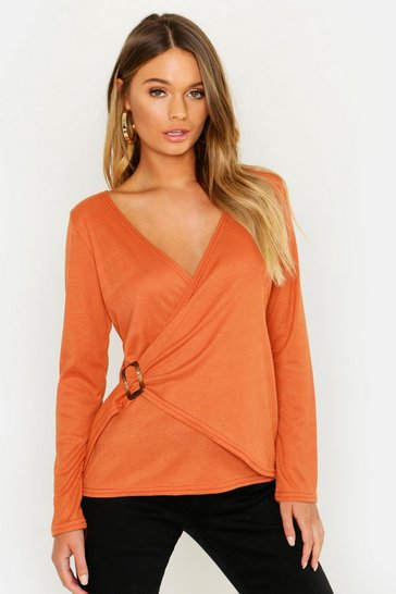 Womens Rust Rib Knit Buckle Detail Top