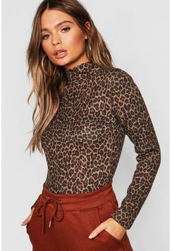 Camel Leopard Print Brushed Knitted Top
