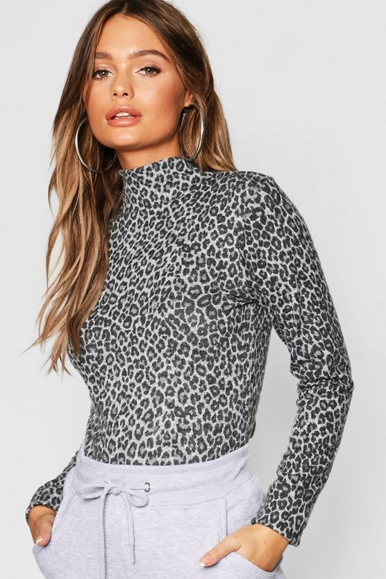 Grey Leopard Print Brushed Knitted Top
