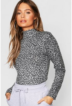 Womens Grey Leopard Print Brushed Knitted Top