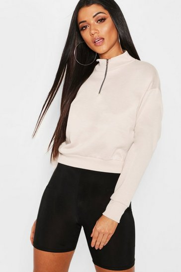 Womens Ecru Cropped Zip Detail Sweat