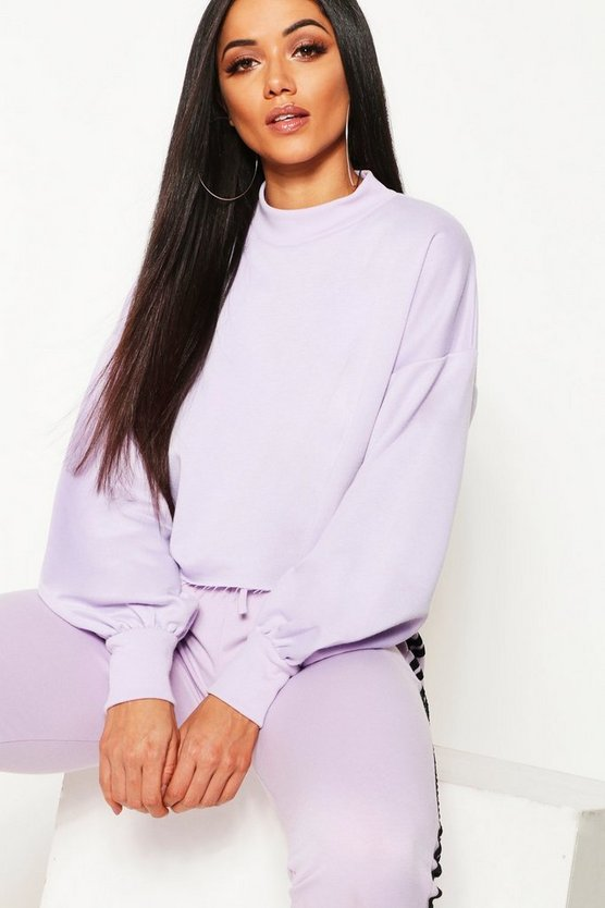 Funnel Neck Balloon Sleeve Cropped Sweat