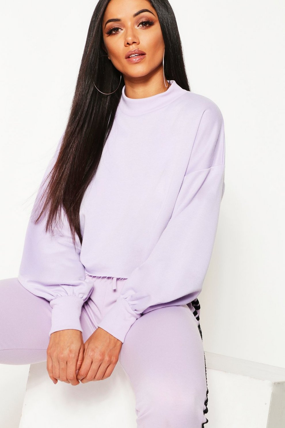 abd6379c32c3a Funnel Neck Balloon Sleeve Cropped Sweat