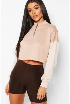 Womens Stone Colour Block Tonal Cropped Sweat