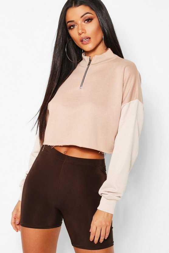 Colour Block Tonal Cropped Sweat