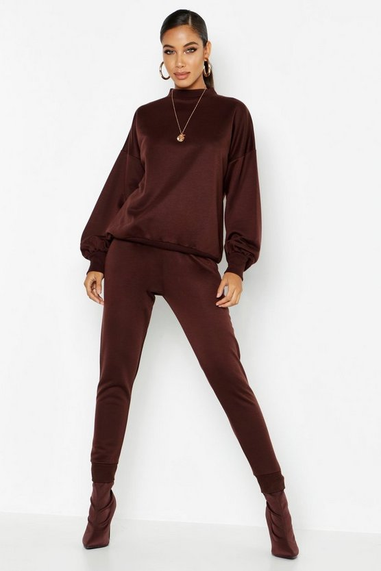 Funnel Neck Balloon Sleeve Jogger Set