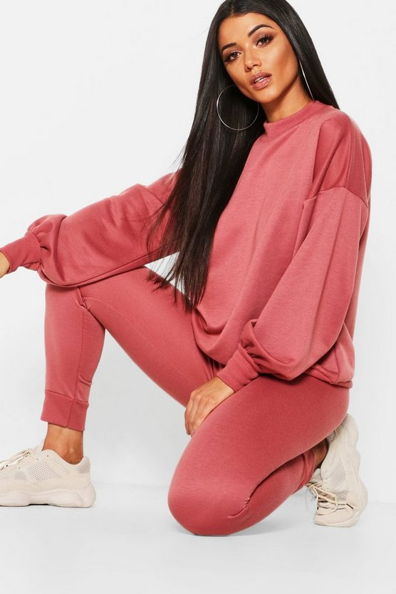 Womens Rose Funnel Neck Balloon Sleeve Jogger Set