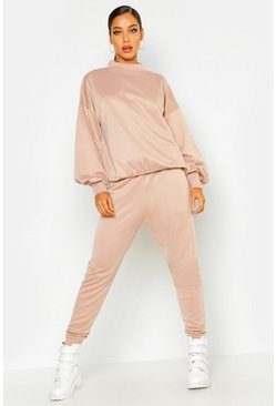 Womens Stone Funnel Neck Balloon Sleeve Jogger Set