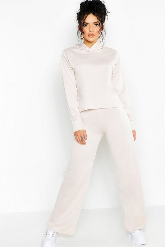 Womens Ecru Hoody With Raw Edge Wide Leg Trouser