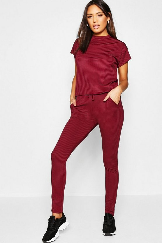 Womens Berry Rib Turtle Neck Co-ord