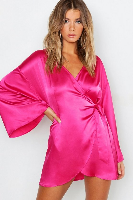 Satin Wide Sleeve Wrap Dress