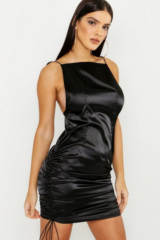 Womens Black Satin Square Neck Bodycon Dress
