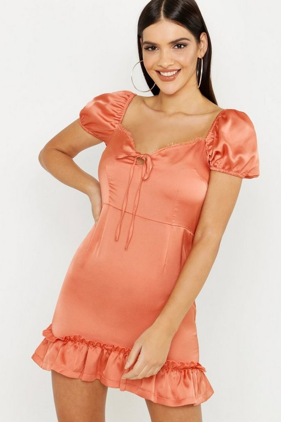 Womens Terracotta Satin & Lace Trim Mini Dress