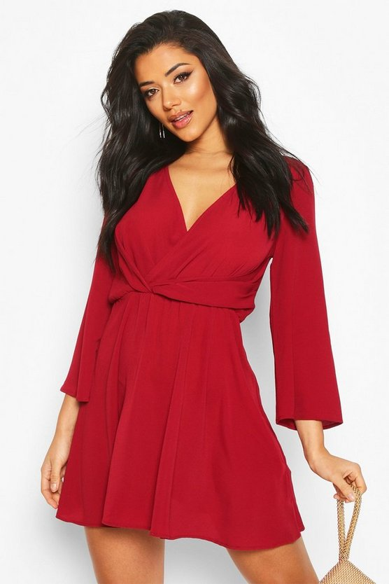 Tie Detail Flared Sleeve Skater Dress by Boohoo