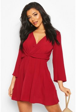 Womens Berry Tie Detail Flared Sleeve Skater Dress