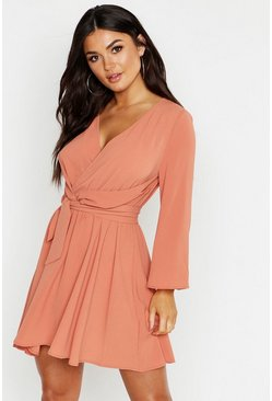 Womens Rose Tie Detail Flared Sleeve Skater Dress