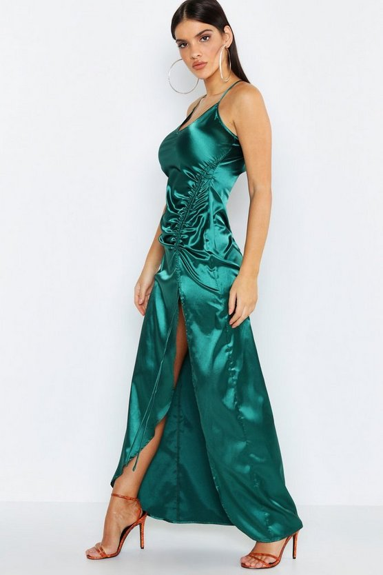 Emerald Satin Strappy Ruched Maxi Dress