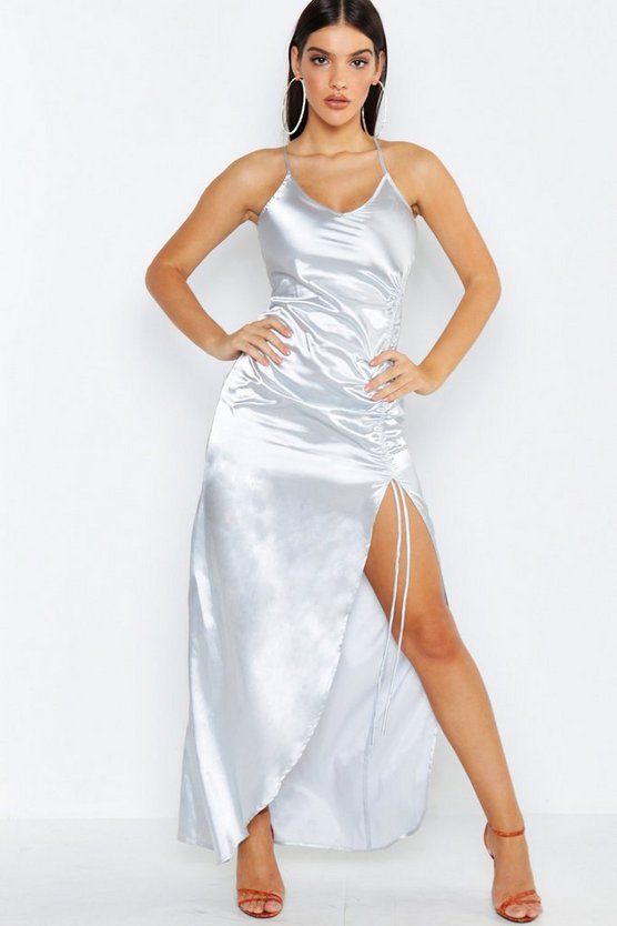 Womens Silver Satin Strappy Ruched Maxi Dress