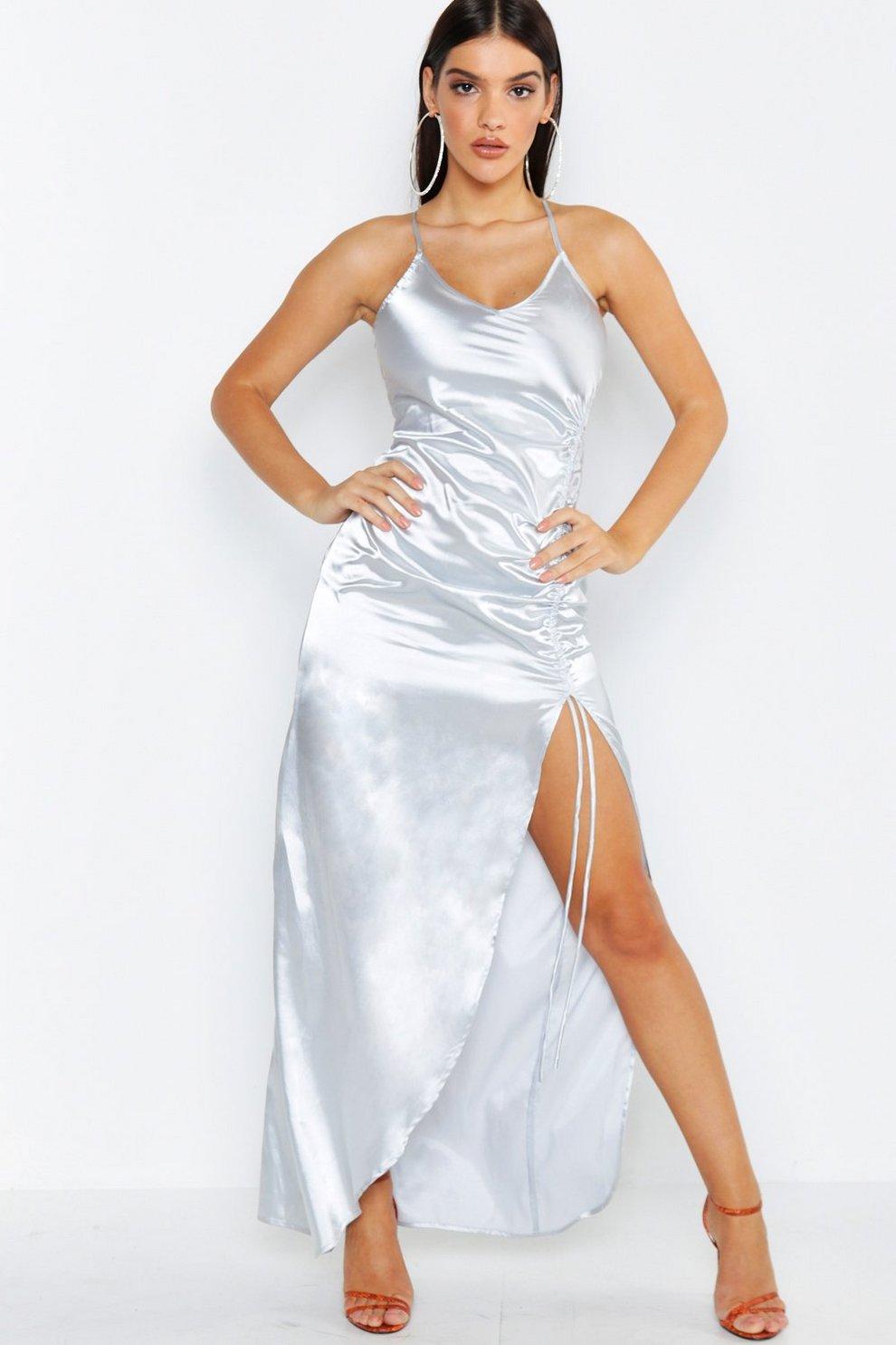 95f3ade036c9f5 Satin Strappy Ruched Maxi Dress | Boohoo