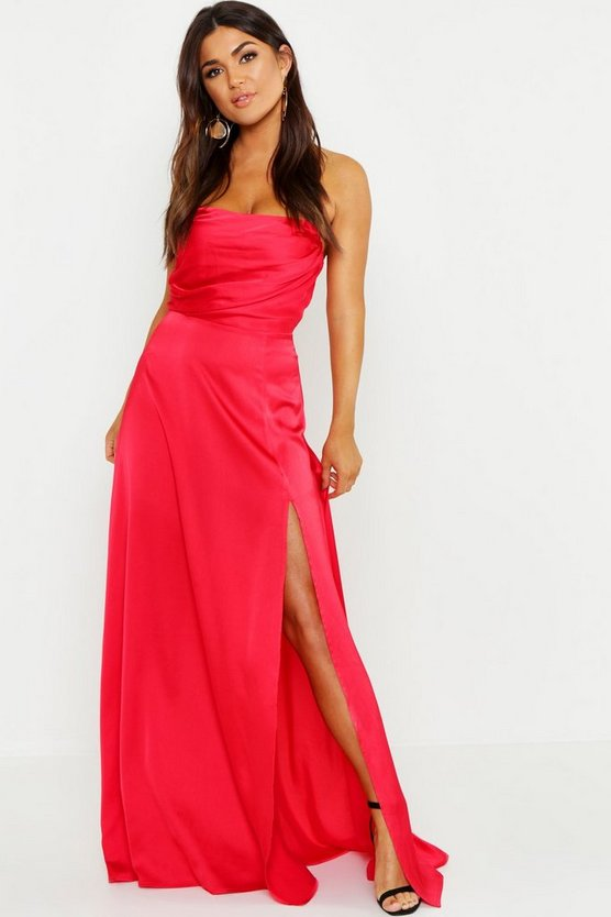 Satin Bandeau Maxi Dress