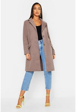 Womens Mocha Button Through Wool Look Coat
