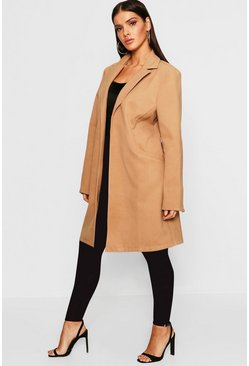 Womens Camel Collared Wool Look Coat