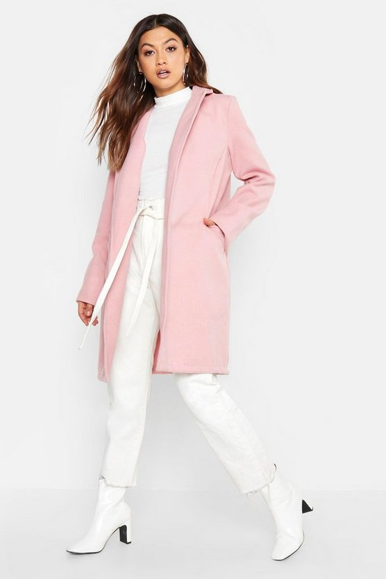 Womens Pink Collared Wool Look Coat