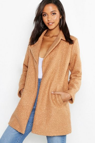 Womens Camel Faux Teddy Fur Collared Jacket