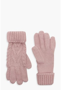 Womens Pale pink Cable Knit Gloves
