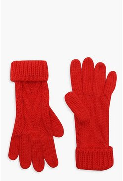Womens Mandarin Cable Knit Gloves
