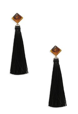 Tortoise Shell Stud Tassel Earrings, Black, Femme