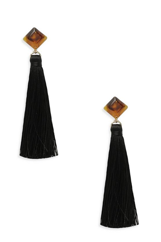 Tortoise Shell Stud Tassel Earrings, Black, DAMEN