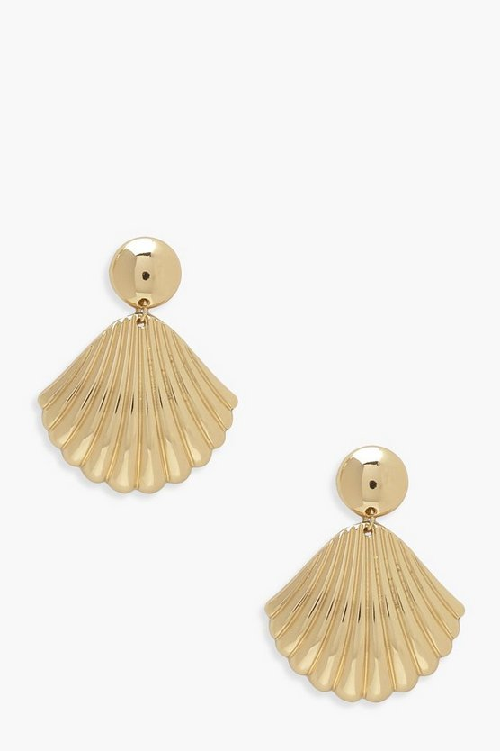Womens Gold Shell Drop Earrings